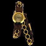 Bracelete com correntes duplas marrom e dourado