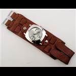 Relógio EF bracelete unissex marrom com fecho em velcro