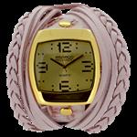 Relógio EF bracelete feminino com tiras e tranças, nude e para acrescentar, toque de brilho no bracelete, nude