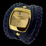 Relógio EF bracelete feminino com tiras e tranças, azul.