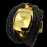 Relógio EF bracelete feminino com tiras e tranças, café.