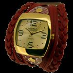 Relógio EF bracelete feminino com tiras e tranças, nude e para acrescentar, toque de brilho no bracelete, vermelho.