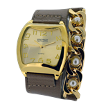 Relógio EF bracelete feminino com corrente dourada acompanhada de lindas pérolas
