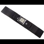 Relógio EF bracelete feminino em couro preto com velcro.