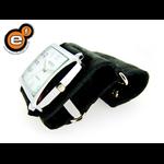 Relógio EF bracelete feminino em couro croco preto fecho com botóes