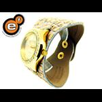 Relógio EF bracelete feminino em couro bege / dourado, fecho com botões
