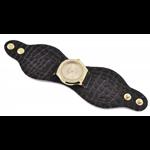 Relógio EF bracelete feminino em couro marrom / dourado, fecho com botões