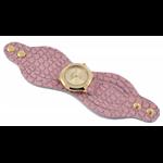 Relógio EF bracelete feminino em couro rosa / dourado, fecho com botões