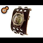 Relógio EF bracelete feminino, dois fechos marrom