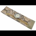 Relógio EF bracelete feminino bandana floral bege, fecho cm velcro