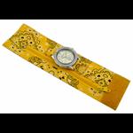 Relógio EF bracelete feminino bandana floral amarela, fecho cm velcro