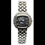 Relógio EF meta feminino prata /madre pérola azul
