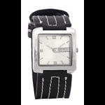 Relógio EF bracelete unissex preto com custura branca