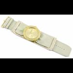 Relógio EF bracelete feminino franzido metálico