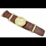 Relógio EF bracelete feminino franzido metálico marrom