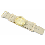 Relógio EF bracelete feminino franzido metálico rosa bebê