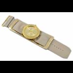 Relógio EF bracelete feminino franzido metálico bege
