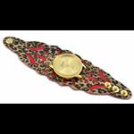 Relógio EF bracelete feminino vazado onça/vermelho