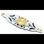 Relógio EF bracelete feminino vazado branco com azul