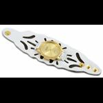 Relógio EF bracelete feminino vazado branco com marrom
