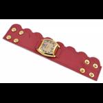 Relógio EF bracelete feminino  babado lateral vermelho