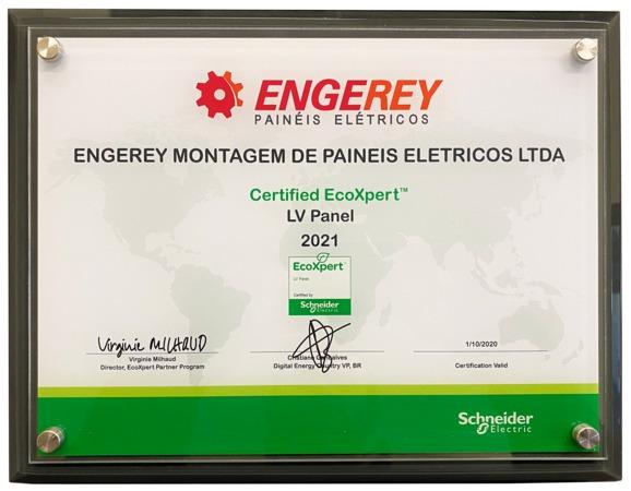 Engerey Painéis Elétricos é reconhecida pela Schneider Electric como um parceiro global EcoXpert LV Certified