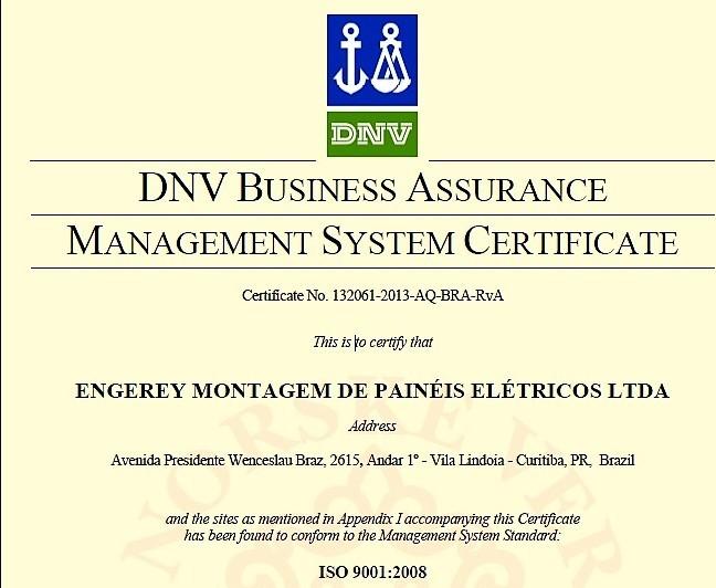 Em 2010, a Engerey conquistou a ISO 9001:2008