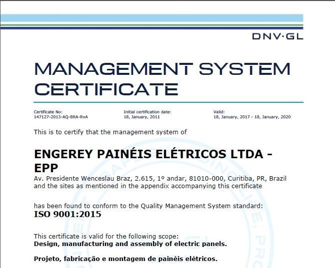 Engerey recebe selo ISO 9001:2015
