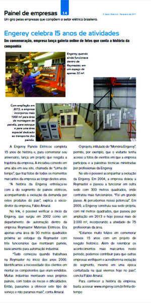 O aniversário de 15 anos da Engerey foi veiculado na Revista O Setor Elétrico