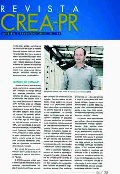 Segurança e a criação do Quadro de Tomadas para Canteiros de Obras Portátil (QTCO) pela Engerey foi um dos temas da Revista Crea - PR