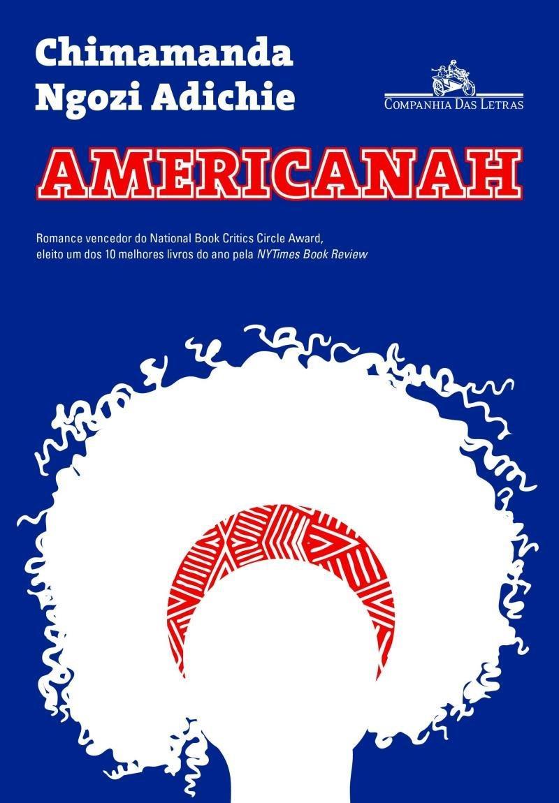 """Capa do livro """"Americanah"""" em que há a ilustração da sombra de uma mulher de cabelo crespo"""