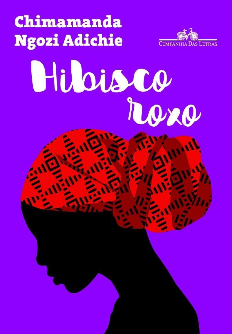 """Capa do livro """"Hibisco Roxo"""" que mostra a ilustração da sombra de uma garota com o cabelo enrolado em um turbante"""