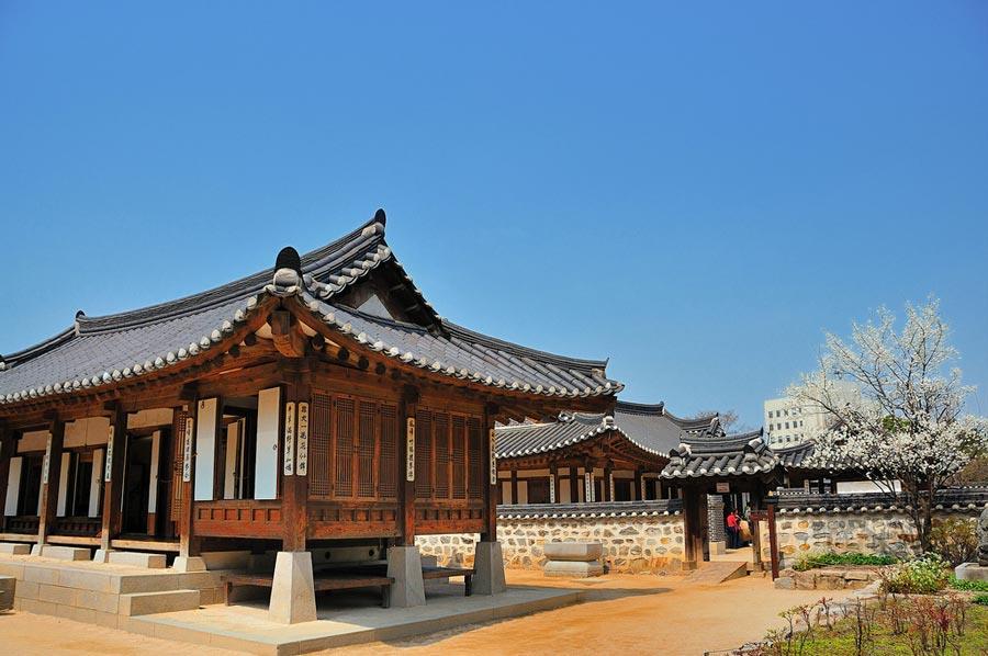 Namsangol Hanok Village, localizado no leste asiático.