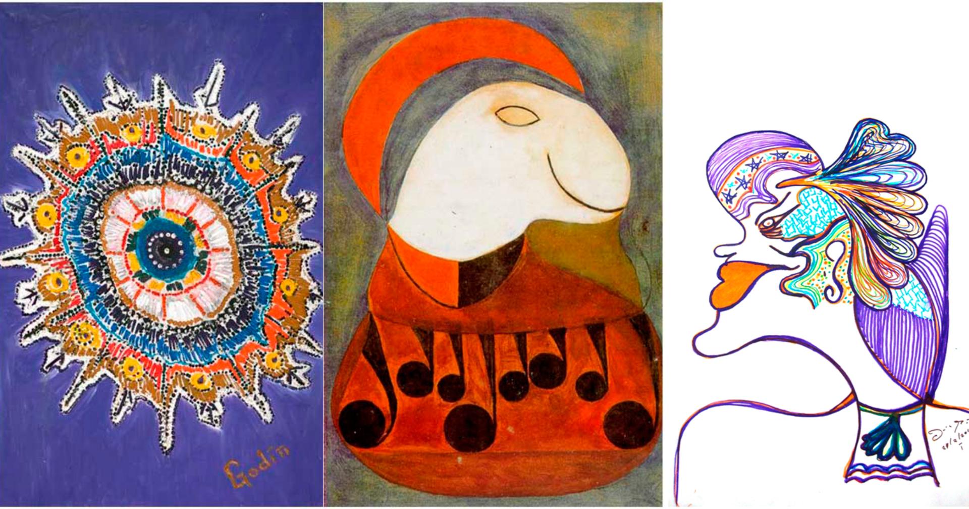 Obras de arte produzidas por pacientes de Nise da Silveira, uma das grandes mulheres brasileiras.