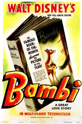 Cartaz promocional de Bambi, o quinto filme lançado pela Disney.
