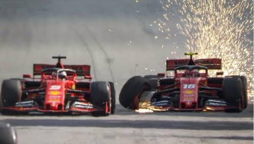 A batida entre Vettel e Leclerc no GP do Brasil de 2019.