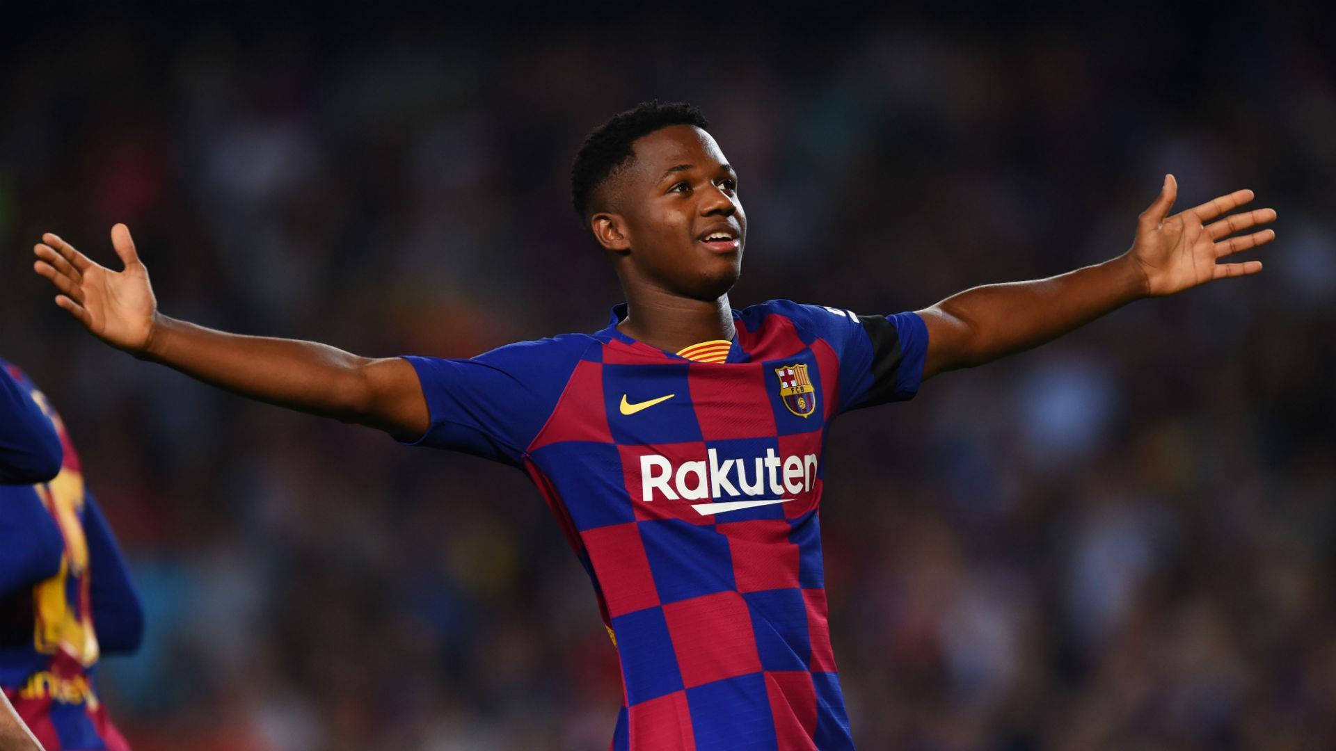 Jovem Ansu Fati em ação pelo Barcelona, da Espanha (Foto: Alex Caparros)