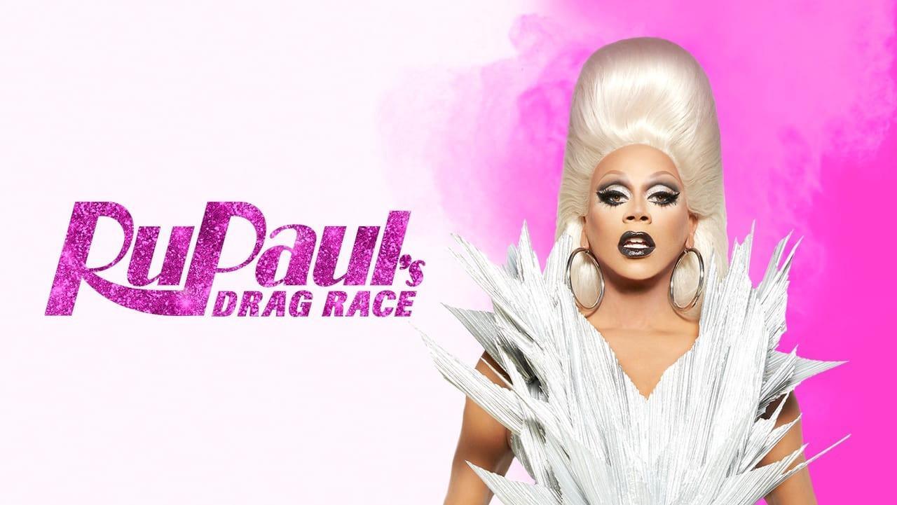 logo do programa Rupaul's Drag Race com a drag queen Rupaul posando ao lado do nome do programa