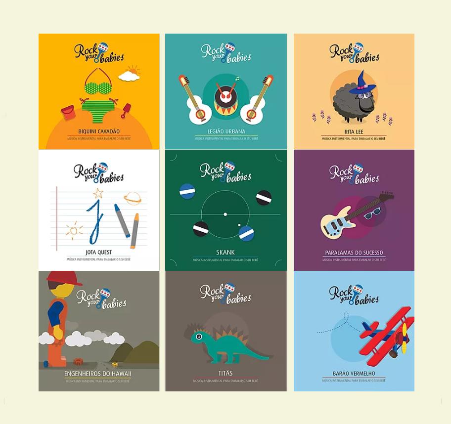 Capa dos nove CDs lançados pela Rock Your Babies.