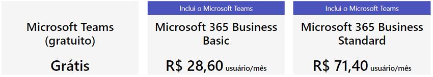 Preços do Teams