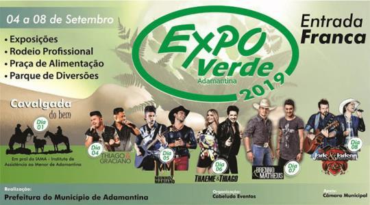 Comissão Organizadora divulga shows da ExpoVerde 2019