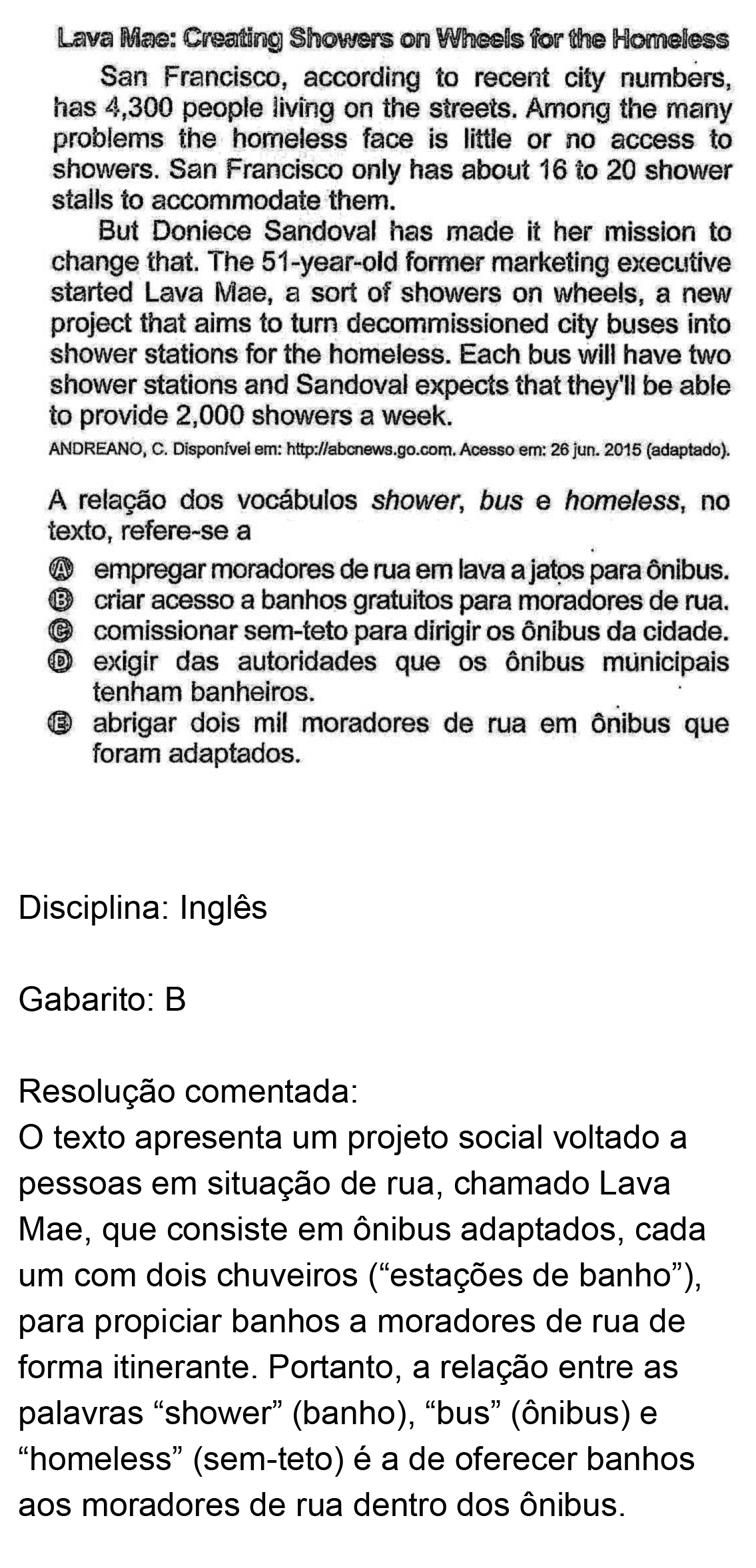 Resolução da questão 05I: Prova Rosa do ENEM 2018.