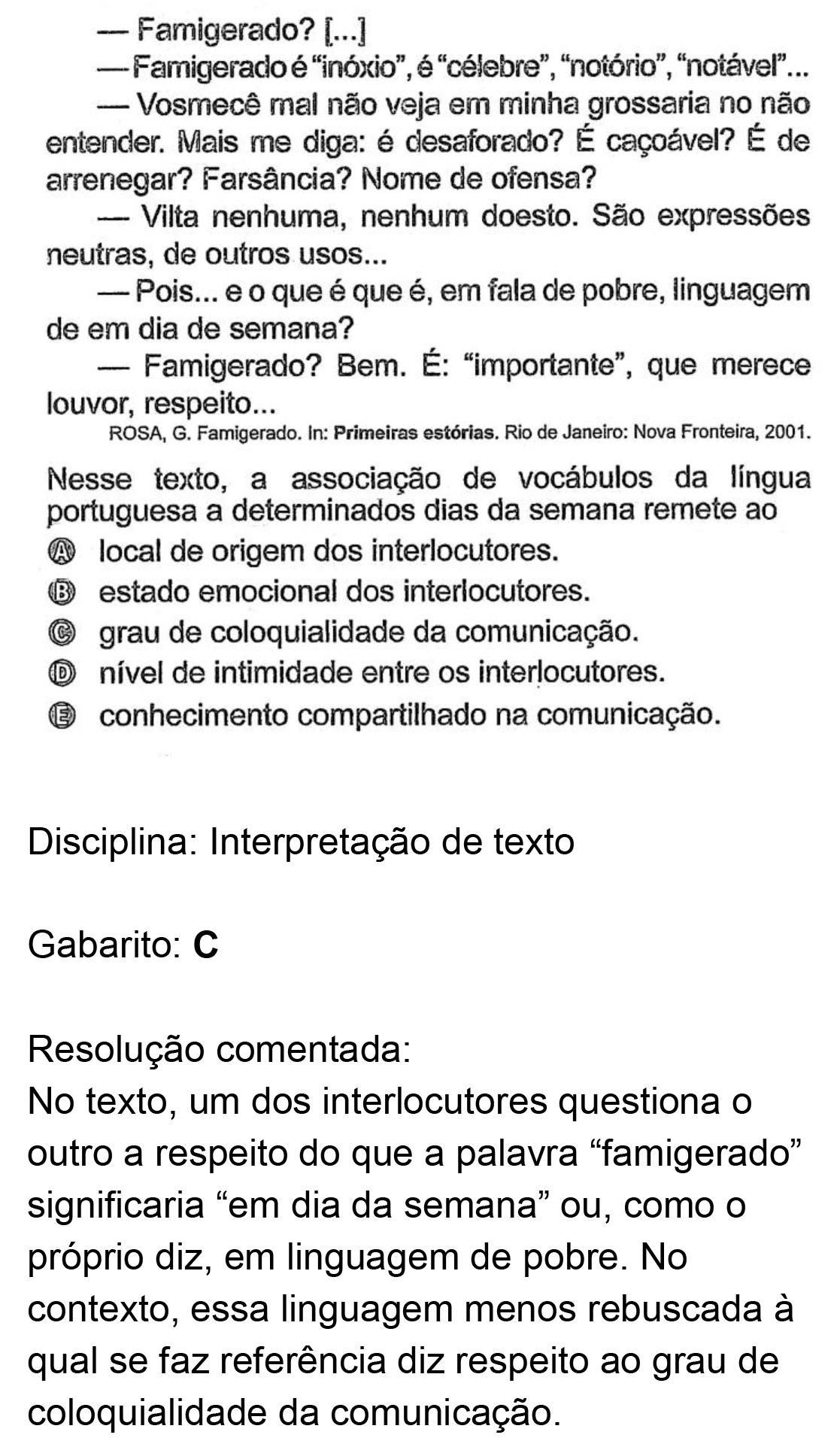 Resolução da questão 08: Prova Azul do ENEM 2018.