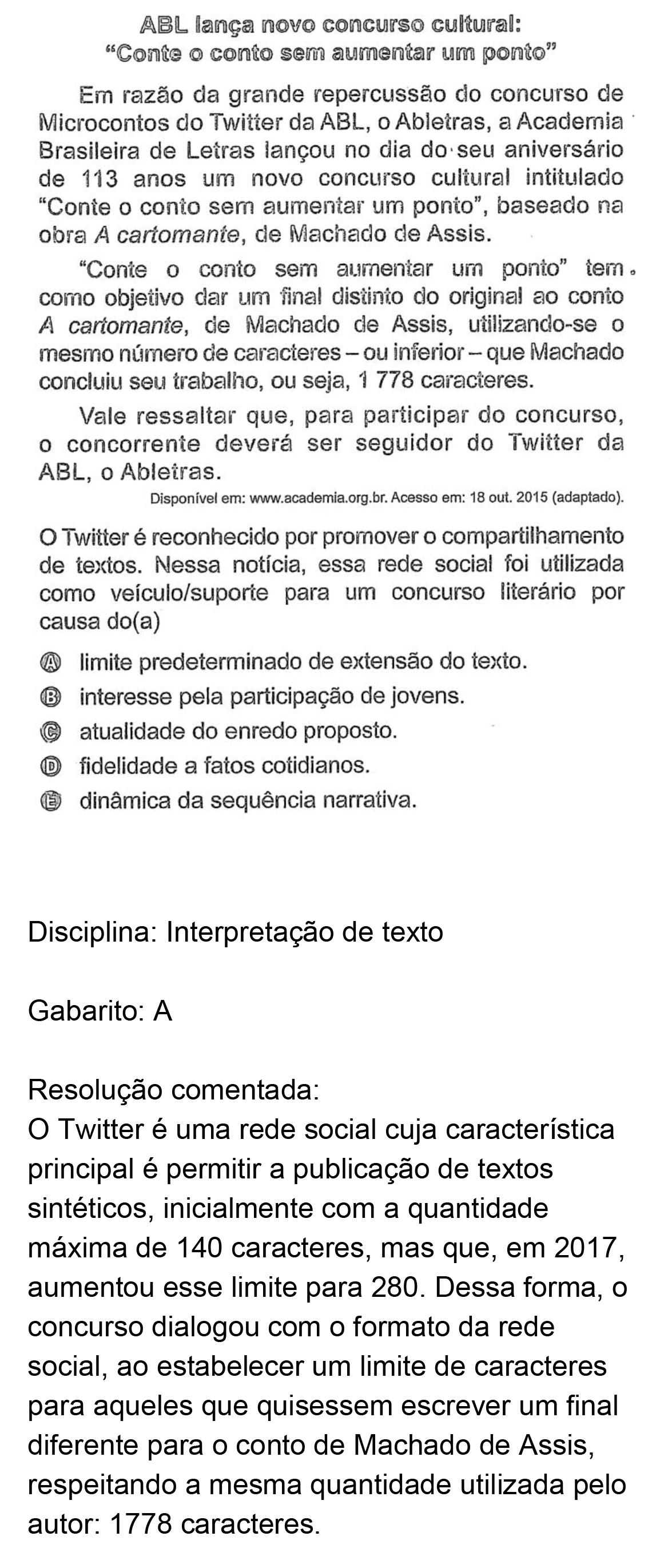 Resolução da questão 40: Prova Azul do ENEM 2018.