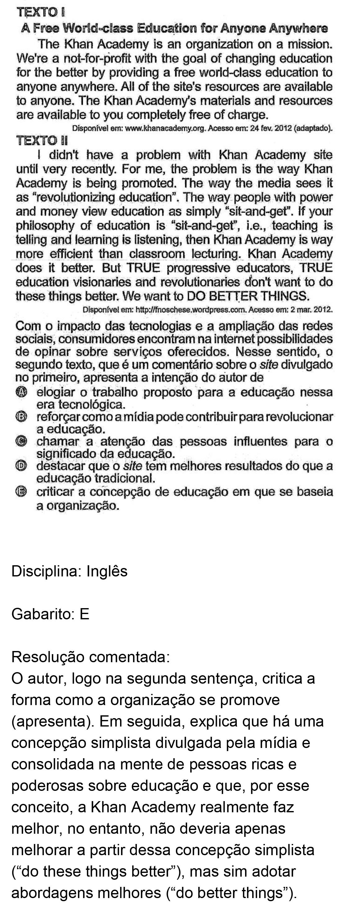 Resolução da questão 03I: Prova Rosa do ENEM 2018.