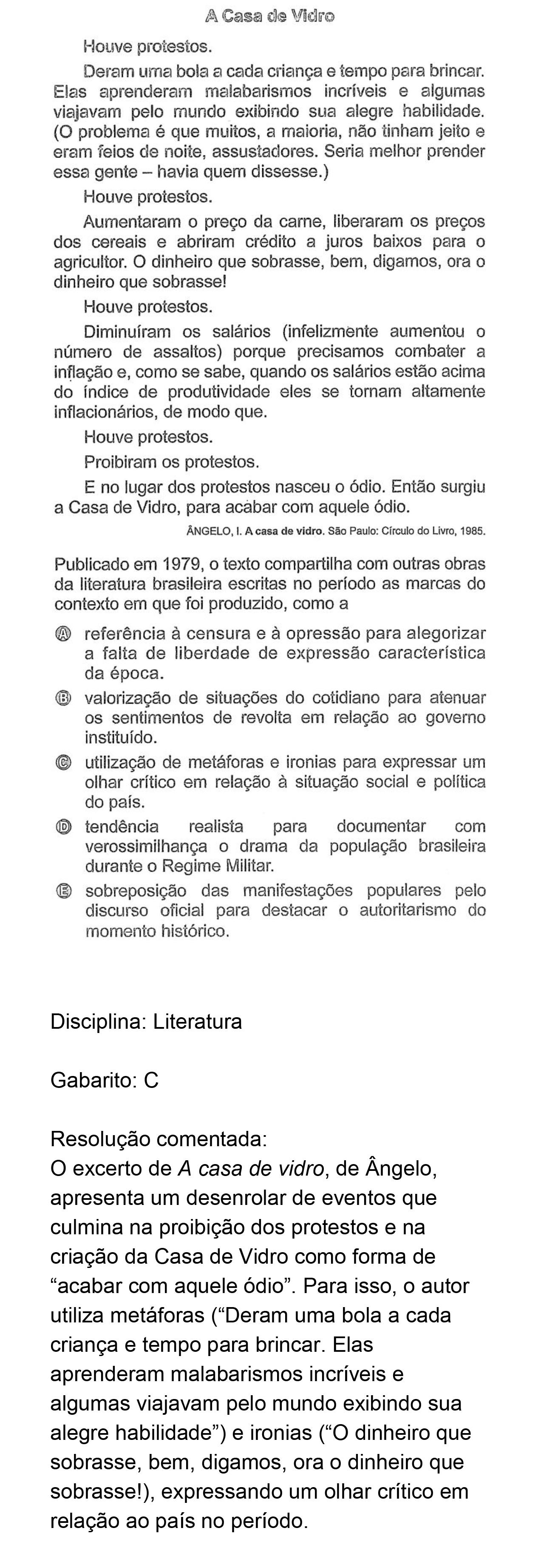 Resolução da questão 19: Prova Rosa do ENEM 2018.