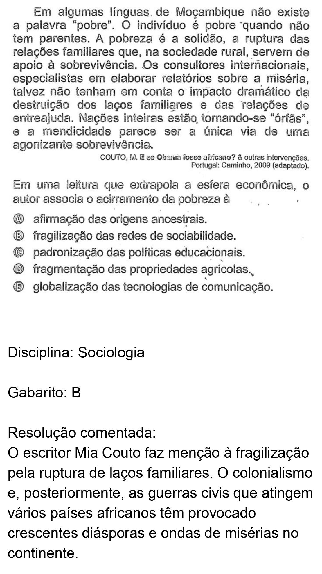 Resolução da questão 53: Prova Amarela do ENEM 2018.