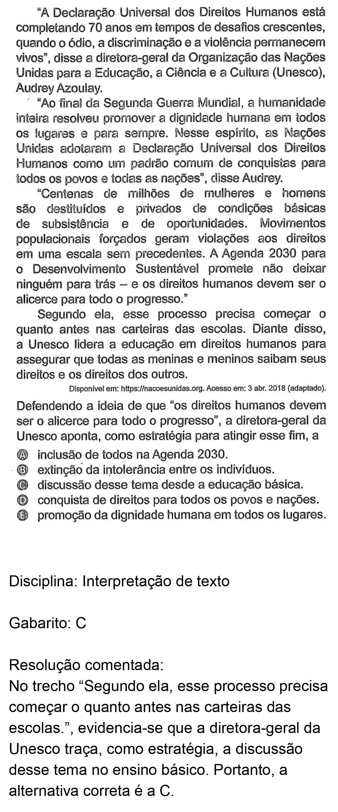 Resolução da questão 42: Prova Amarela do ENEM 2018.