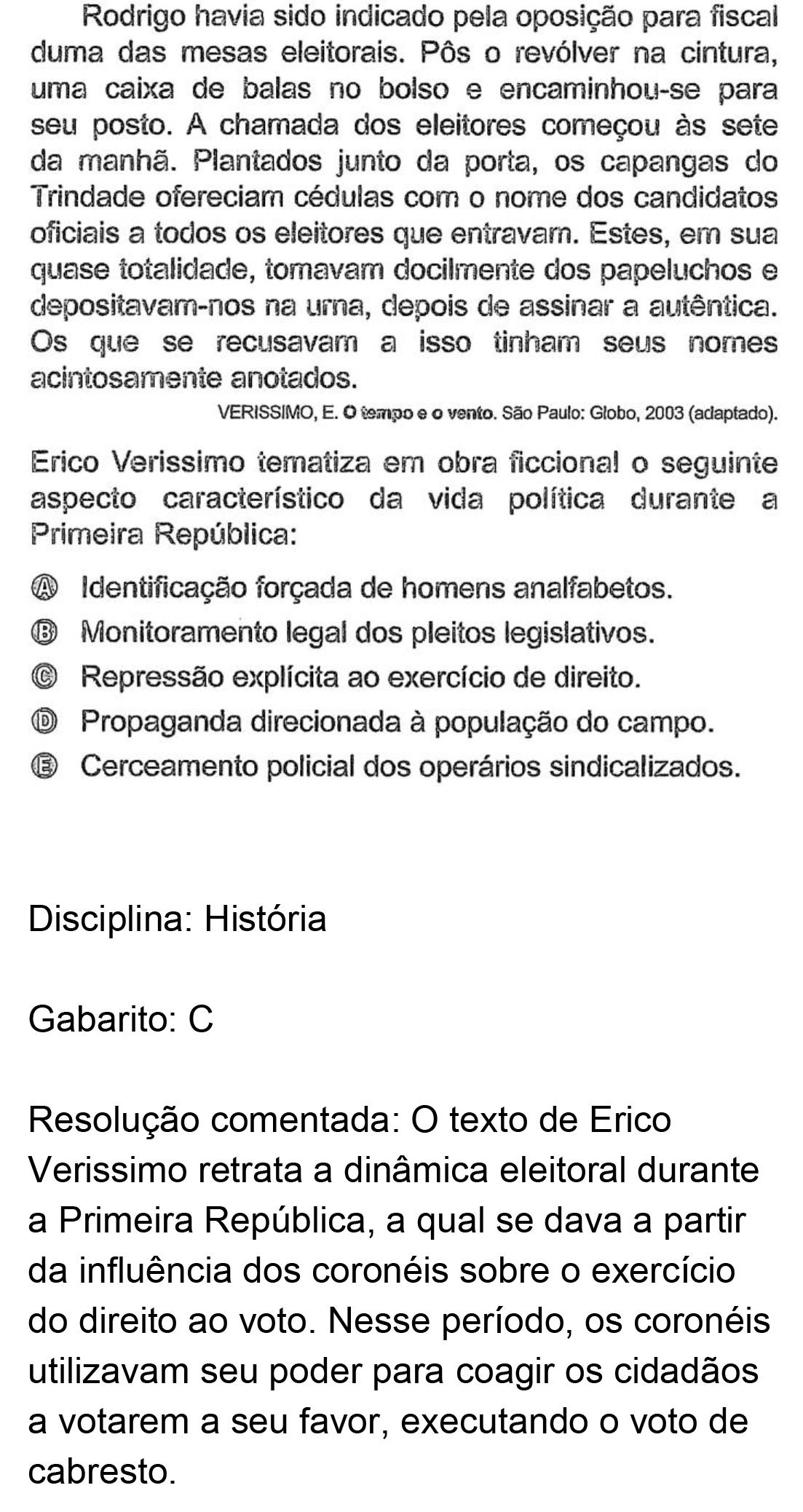 Resolução da questão 81: Prova Branca do ENEM 2018.