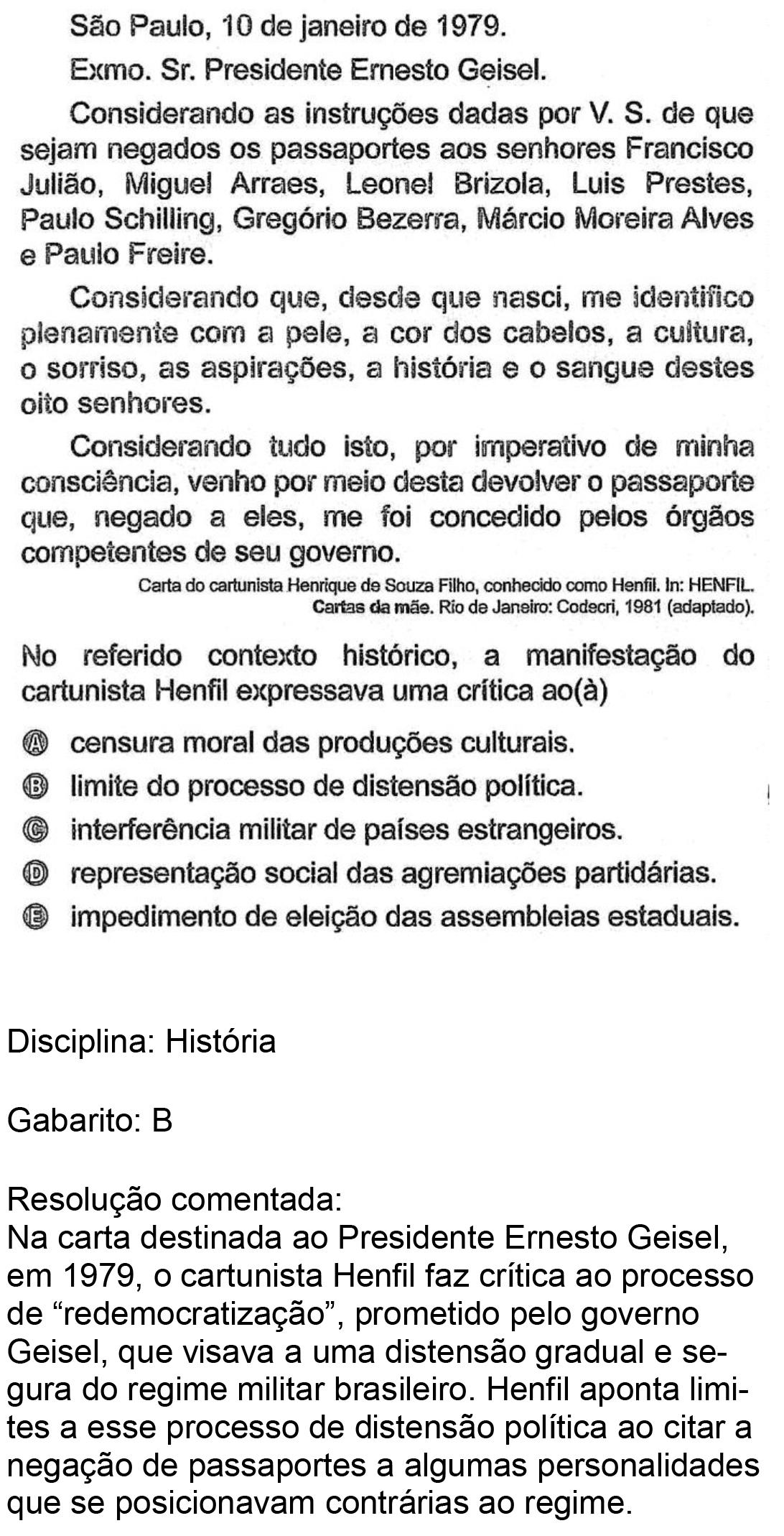 Resolução da questão 64: Prova Rosa do ENEM 2018.